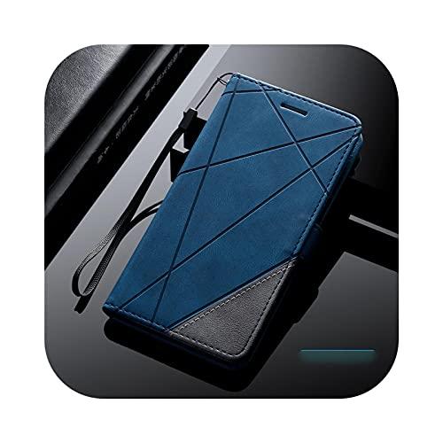 Funda de piel con tapa para Samsung Galaxy S21 S20 Ultra S10 S9 S8 Plus S20Fe S10E S7 Edge Galaxy Note 20 Ultra 10 Pro 8 9 Lite - Blue-Galaxy S20 Ultra