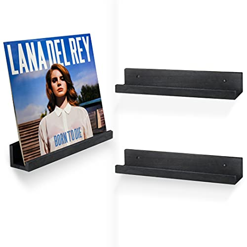 Vinyl Record Display Shelf Wall Mount, Set of 3 Rustic Wood Album Record Holder, Wall Mounted Nursery Kids Bookshelf, Picture Display Ledge Shelf and Album Holder Organizerfor Home and Office