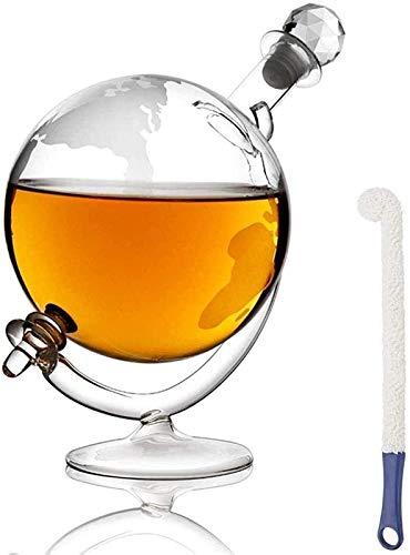 HCMNME Decantador de Vino de Cristal Hecho a Mano, Cráneo de Vino Vino Decantador y Gafas Conjunto Vintage Vidrio Whisky Antter con Cradle & Stopper, Diseño Mundial Whiskey Carafe Ron, Brandy &