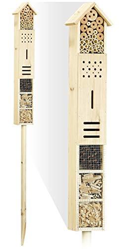 Royal Gardineer Bienenhotel: Insektenhotel Flip mit Erdspieß als Nisthilfe für Nützlinge, 160 cm (Insekten-Hotels)