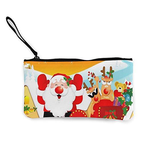 Wrution Weihnachtsmann Rentier Schlitten Weihnachtsmünze Geldbörse mit Reißverschluss kleine Geldbörse weiblich tragbar große Kapazität personalisiert