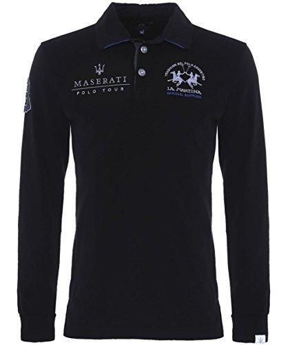 La Martina Mansel Largo Manga Camiseta Polo Negro