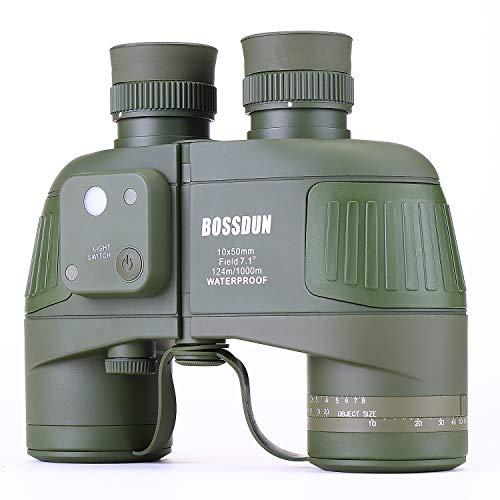 10x50 Militär Fernglas für Erwachsene, Wasserdichtes Marine Fernglas mit internem Entfernungsmesser und Kompass zur Vogelbeobachtung Bootfahren Segeln Wassersport Besichtigung (Grün)