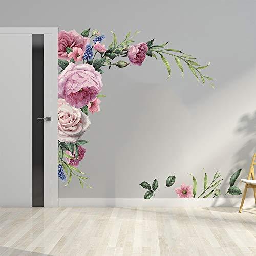 LucaSng Pfingstrose Wandaufkleber Wandtattoo, DIY Groß Wandsticker Rose Blumen Wandaufkleber Wanddeko für Wohnzimmer Schlafzimmer Küche Flur Fenster
