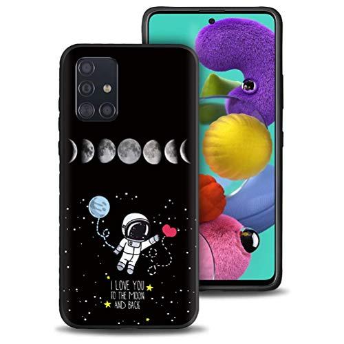 Yoedge Cover Samsung Galaxy A51, Sottile Antiurto Custodia Nero Silicone TPU con Disegni Cuore Pattern Ultra Slim 360 Protective Bumper Case per Samsung Galaxy A51 4G, 32