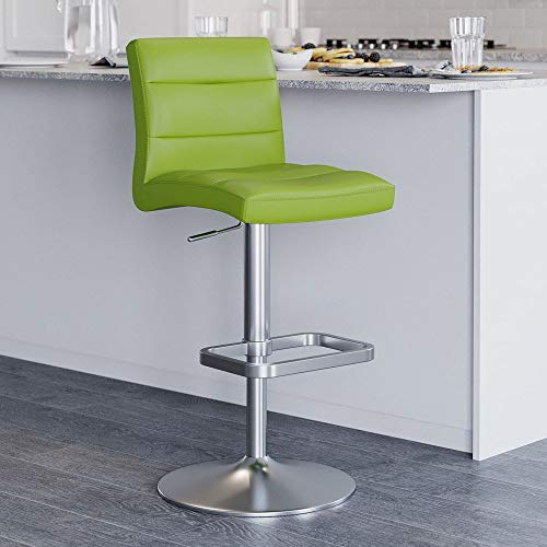 Zuri Furniture Lush Adjustable Height Swivel Armless Bar Stool Lime Green