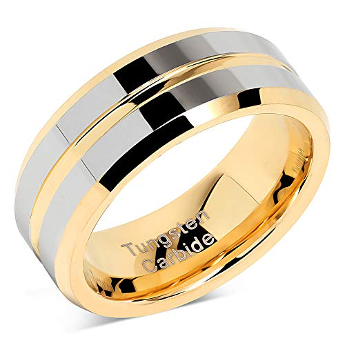 Tungsten Rings for Mens Wedding Bands Gold Silver Two Tone Grooved Center Line Size 6-16 (tungsten, 11)