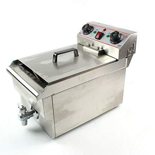 Freidora eléctrica de acero inoxidable de 10 L, con sistema de calefacción profesional