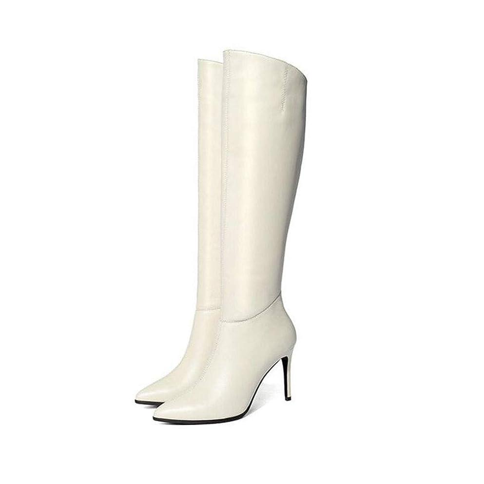 の量走る浴レディースロングブーツ、ブラックセクシーファッションパーティーシューズ女性スティレットハイヒールレディースニーハイブーツ (色 : 白, サイズ : 37)