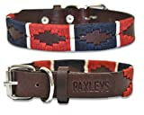 Paxleys <span class='highlight'>Handmade</span> Hand Stitched Brown <span class='highlight'>Leather</span> POLO <span class='highlight'>Dog</span> Collar, Metal Roller Buckle, Suitable For Puppy <span class='highlight'>Dog</span>s, Argentina Style Easy Adjustable Waterproof <span class='highlight'>UK</span> Designer, Red/Blue (Extra Small - 20cm-30cm)