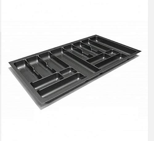 Besteckeinsatz Schubladeneinsatz Besteckkasten Comfort Universal | für 90er Schubladen | zuschneidbar von 810-835 mm | Silbergrau