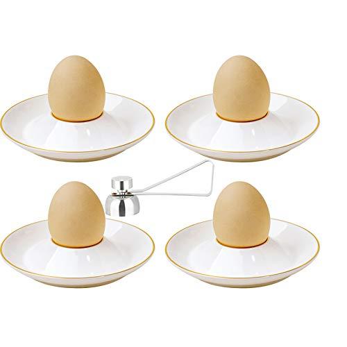 QAX Eierbecher weiß 4er Set aus Porzellan mit Eieröffner aus Edelstahl für Zuhause, Restaurant, glatt und hell, Teller mit Goldrand