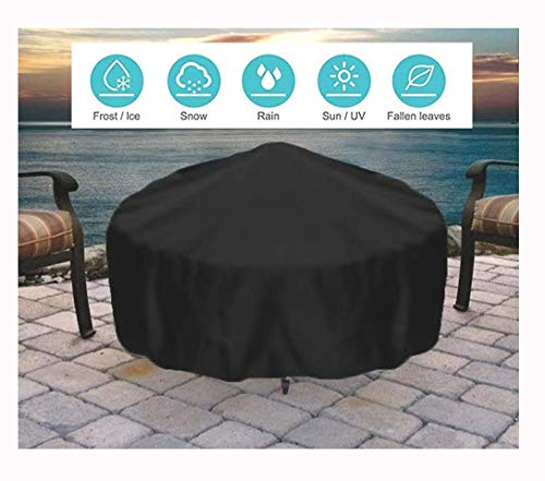 Garden Furniture Covers, Patio Furniture Protective Cover Round gas fire pit cover, outdoor garden heavy kettle lid fireplace cover grill cover, waterproof, durable black furniture cover (Size : 100 *