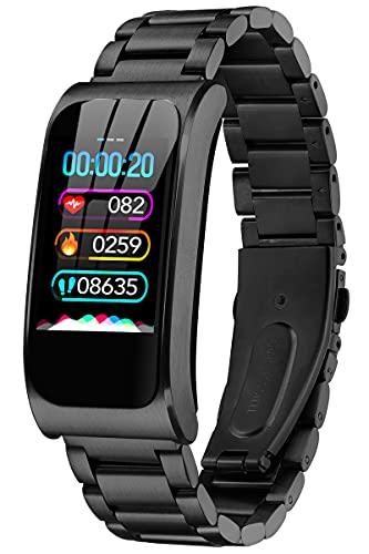 Fitness Armband Uhr mit Blutdruckmessung IP68 Wasserdicht Pulsuhr Sport Damen Herren IOS Android Smartwatch Schlaf Tracker Laufuhr Aktivitätstracker Schrittzähler ohne App und Handy Fitnessuhr Pulsuhr