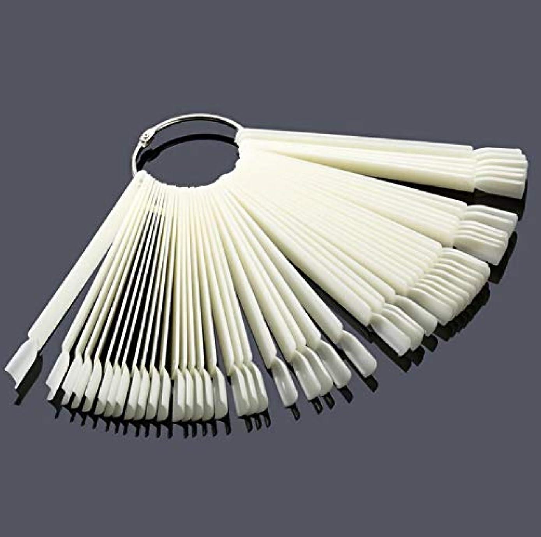 散歩に行くエコー猛烈なFidgetGear 50グリッド偽ネイルアートのヒントカラーカード透明ホワイトリング練習ディスプレイ 白