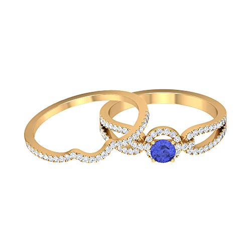 3/4 CT Tanzanite and Diamond Ring, Solitaire Ring with Wedding Band, Gold Bridal Ring Set (AAA Quality), 14K Yellow Gold, Size:UK -1