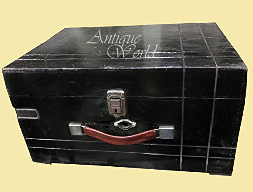 """Antiques World Antique Black Old Turn Table HMV """"His Master Voice"""" Wooden Art Décor Collectible Musical Box Phonograph Vintage Desk Decca Phone/Gramophone AWUSAHB 0166"""