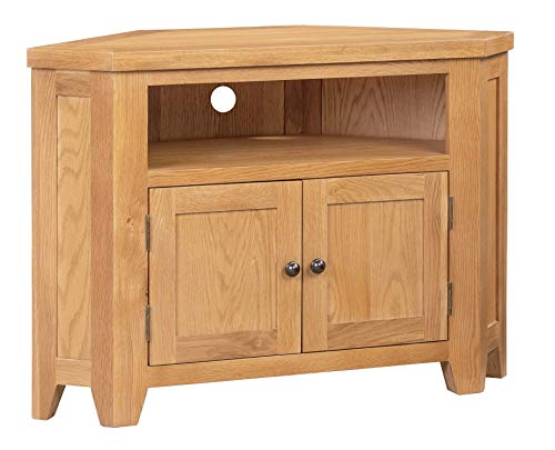 Hallowood Cotswold 2 Door Corner TV Stand Light Oak Finish | Media Cabinet | Entertainment Table | Solid Wooden Television Unit, COT-TVC
