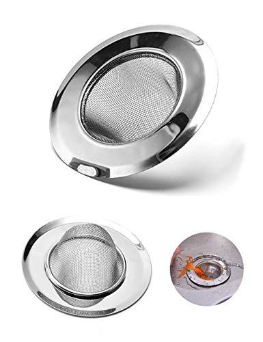 Toyyevr 2 Stück Spüle Abflusssieb Edelstahl Strapazierfähiges Netz Waschbecken Sieb Stopfen Filterfalle Haarfänger Set Ideal für Bad und Küche Abflußsieb 7.5cm