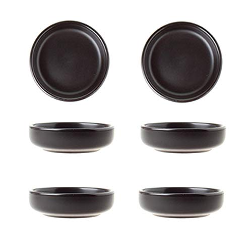 Matte Ceramic Soy Dipping dish,Multipurpose Porcelain Sauce Dish Mini Side Seasoning bowl Sushi Soy Dipping Bowls Simple Style Set of 6 Black