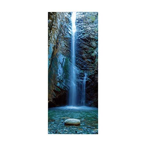 Pegatina de Puerta, póster, calcomanía artística, decoración del hogar para Dormitorio, acantilado, Cascada, Agua Clara, tamaño 90 * 200 cm