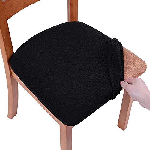 Homaxy Stretch Spandex Jacquard Esszimmerstuhl Sitzbezüge Stuhlhussen, herausnehmbarer waschbarer Anti-Staub Esszimmerstuhl Sitzkissen Hussen - 6er Set, Schwarz
