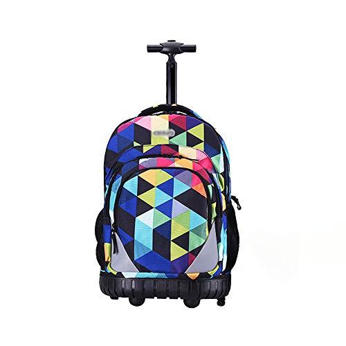 XHHWZB Rolling Backpack Carry On Maleta de Equipaje de 19 Pulgadas para computadoras portátiles de 17 Pulgadas con Cubierta de Lluvia, Negro (4 Ruedas)