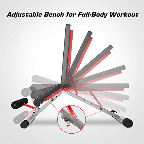 Pelpo Weight Bench for Full Body Workout, Strength Training Bench Press in Home Gym, Decline Incline Adjustable Utility Weight Bench with Fast Folding, Silver Frame