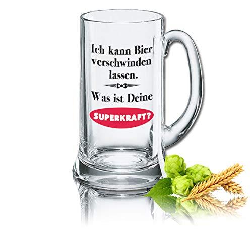 PorcelainSite Geschenkideen GmbH Lustiges Bierglas Bierkrug Icon 0,5L - Dekor: Ich kann Bier Verschwinden Lassen. was ist Deine SUPERKRAFT?