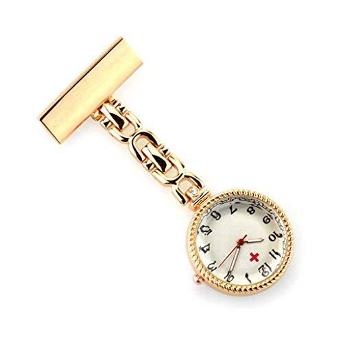 XNdlrb Krankenschwester-Taschen-Uhr-Tageswasserdichte Quarz-Krankenschwester-Armband-Uhr-Revers Pin-Uhr-Clip-Art Medical-Taschen-Uhr (Color : Gold, Size : 8.5 * 3.3 * 0.9cm)