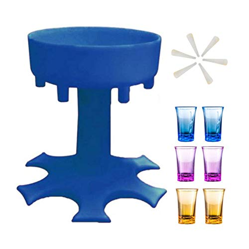 ERTYU 6 Shot Glass Dispenser with Stopper, Portable Dispenser for Filling Liquids Multiple Shots Dispenser, Party Cocktai Drinking Games, Wine Dispenser for BarBlue