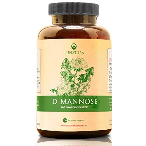 D-Mannose Pulver + Löwenzahnwurzelextrakt | D Mannose aus Birke fermentiert für hohe Bioverfügbarkeit | Hochdosiert, Natürlich & Vegan | Ohne Zusatzstoffe Für Frauen und Männer - 120 Kapseln
