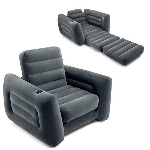 duhe189014 2 in 1 aufblasbares Klappsofa mit ausziehbarer Struktur, aufblasbarer ausziehbarer Stuhl mit Becherloch, tragbares aufblasbares Sofa, Stuhlschläfer für den Innenhof