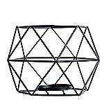 JUNGEN 2er Set 3D Geometrisch Kerzenständer Kerzenhalter Metall Vintage Kerzenständer Teelichthalter Deko Tischdeko für Hochzeit Weihnachten Wohnzimmer, 13 × 10 cm(Schwarz) - 7