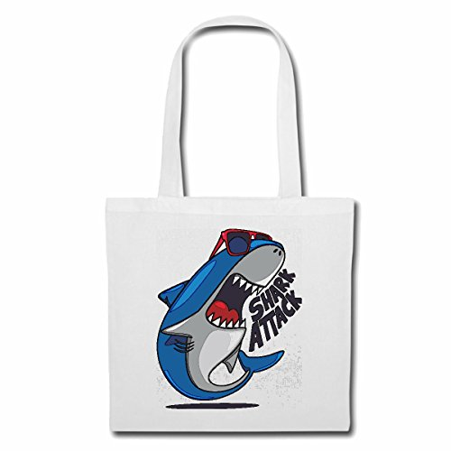 Tasche Umhängetasche WEISSER HAI MIT Brille Shark Attack Megalodon BLAUHAI HAMMERHAI SCHWARZSPITZEN RIFFHAI WALHAI MAKOHAI Einkaufstasche Schulbeutel Turnbeutel in Weiß