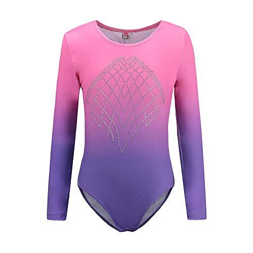 Sinoem Gymnastikanzug Mädchen Langarm Kinder Turnanzug/Ballett/Ballettröckchen Kleid Trikotanzug Tanz Kleid/Gymnastik/Training/Dancewear/Gymnastikbody für mädchen (12 (11-12Jahre), Pink+Purple)