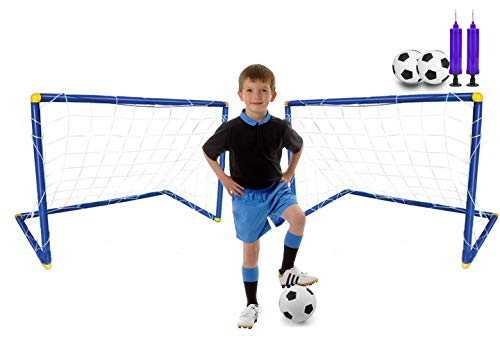 Zestaw 2 dużych 108 cm bramka do piłki nożnej dla dzieci piłka do piłki nożnej 2 pompki do wewnątrz piłka nożna sport zestaw treningowy 108 x 78 x 72 cm
