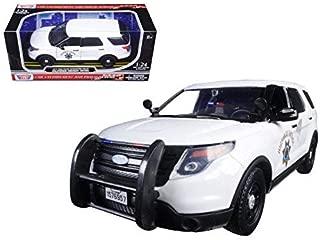 Motormax 76957 2015 Ford Interceptor Police Utility California Highway Patrol (CHP) White 1/24 Diecast Model Car