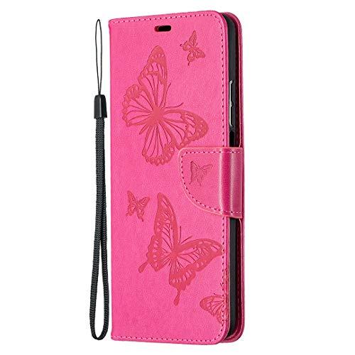 WANYINGLIN Girl Slim Leather für Samsung S20,3D Butterfly Musterg Bling Colorful Modisch Leder Bookstyle Stand Funktion Magnet Flip Wallet Hülle