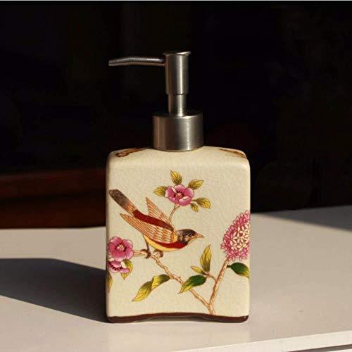 Pgs Vloeibare zeep Container, Oosterse Hand Schilderen Vogel En Bloemen Beige plein Shampoo Hand Sanitizer fles, Original Design Refillable Eco Resin keramische zeepdispenser, 440ml