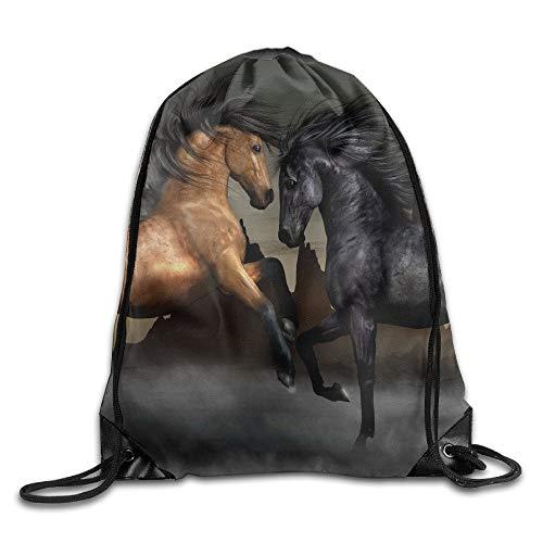 NA Amazing Paarden Spelen Unisex Thuis Rugzak Schoudertas Reizen Trekkoord Rugzak Tas