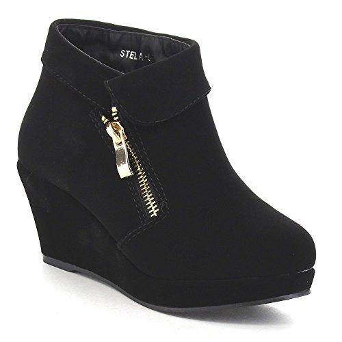 Beston Lucky Top Stella-6K Children Girl's Platform Wedge Heel Fold Over Ankle Booties Black 2