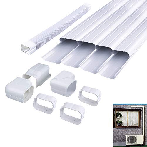 AC Parts 4' W Decorative PVC Line Set Cover Tubing Kit for Central Air Conditioner, Heat Pump, Ductless Mini Split (4' W 14Ft L)