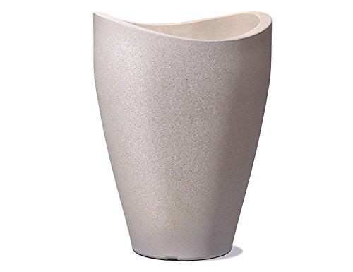 Scheurich Wave Globe High, Hochgefäß aus Kunststoff, Taupe-Granit, 50,5 cm Durchmesser, 67 cm hoch, 33 l Vol.