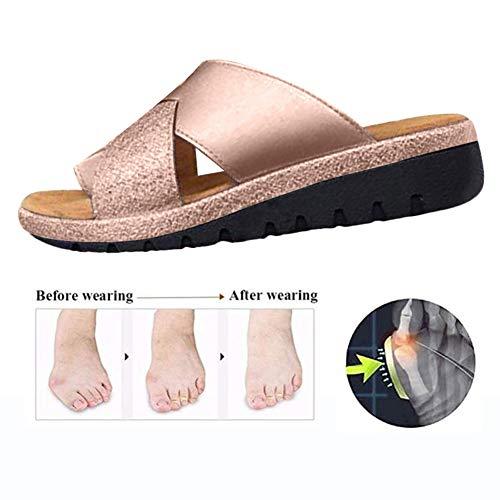 Aupast Sandalias de Plataforma cómodas para Mujer Zapatos ortopédicos Verano Punta Plana Post Bunion Sandalias correctivas para corrección ortopédica del Dedo Gordo