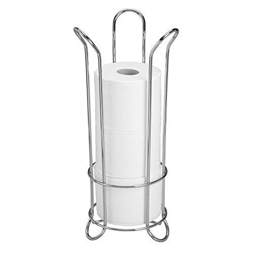 InterDesign Classico Tulip Free-Standing Toilet Paper Holder – Spare Roll Storage for Bathroom, Chrome