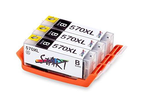 START - 3 XL Compatible Chip Cartuchos para Canon PGI-570 BK XL Negro