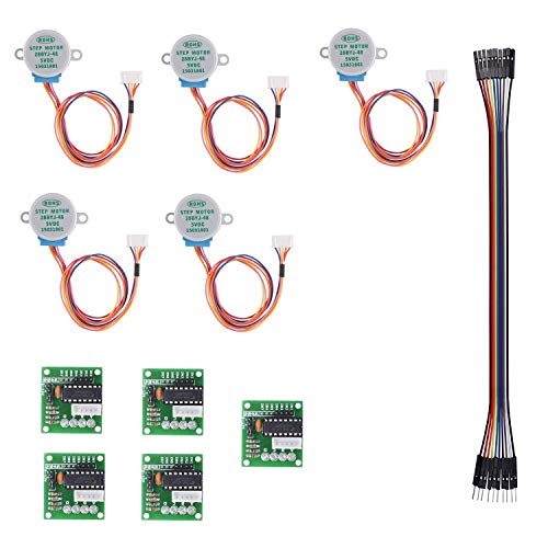 QooTec Geared Motor Paso a Paso Set of 5 28BYJ-48 ULN2003 5V DC Stepper Motor Uln2003 Driver Board for Arduino UNO R3 MEGA2560 Raspberry EU039
