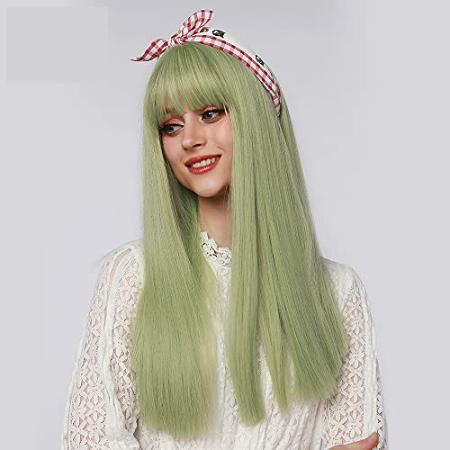 Yupher Synthetic 24 Inch Light Green Long Straight Wig with Bangs Heat Resistant Machine Made Cosplay Party Wigs for White/Black Women (light green)