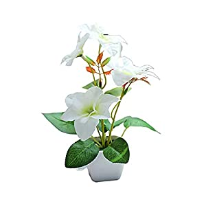 Artificial Flowers Pot, Artificial Flowers, Fake Plants Potted,Artificial Flower Plant Plastic Pot Bonsai Garden Table Party Room Decoration – White Bougainvillea
